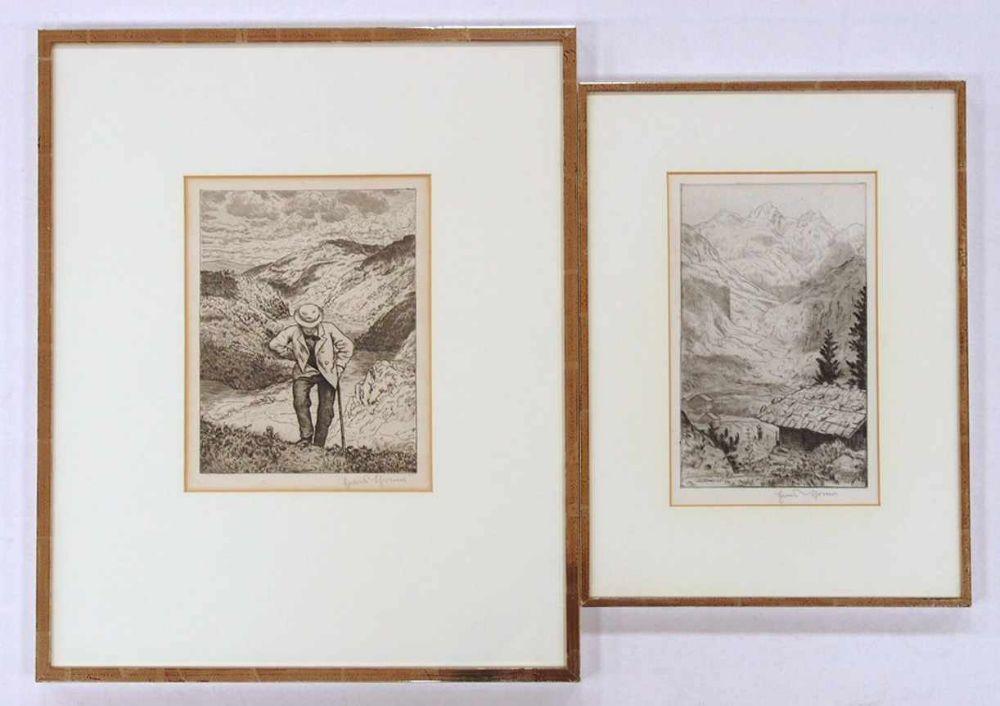 THOMA, Hans1839-19242 Radierungensigniert unten rechts, bis zu 30 x 23 cm, gerahmt unter Glas und Passepartout