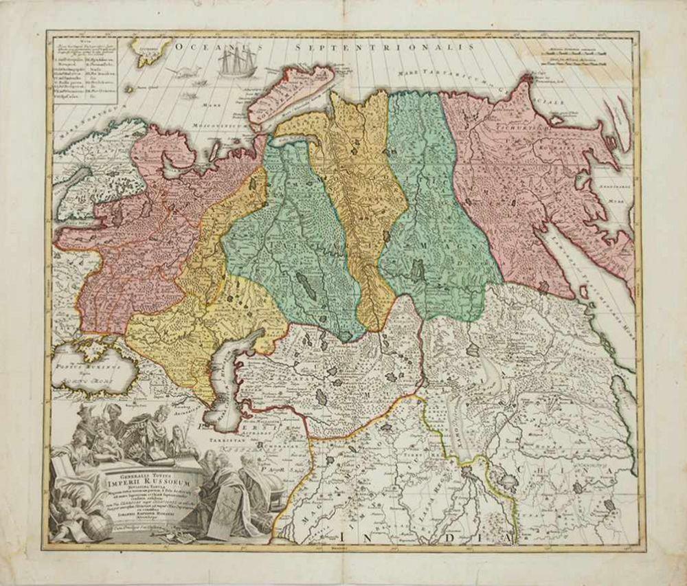 HOMANN, Johann Baptist1664-1724Generalis totius Imperii RussorumKupferstich, altkoloriert, 53 x 63 cm (kleiner Randeinriss, Feuchtigkeitsfleck)