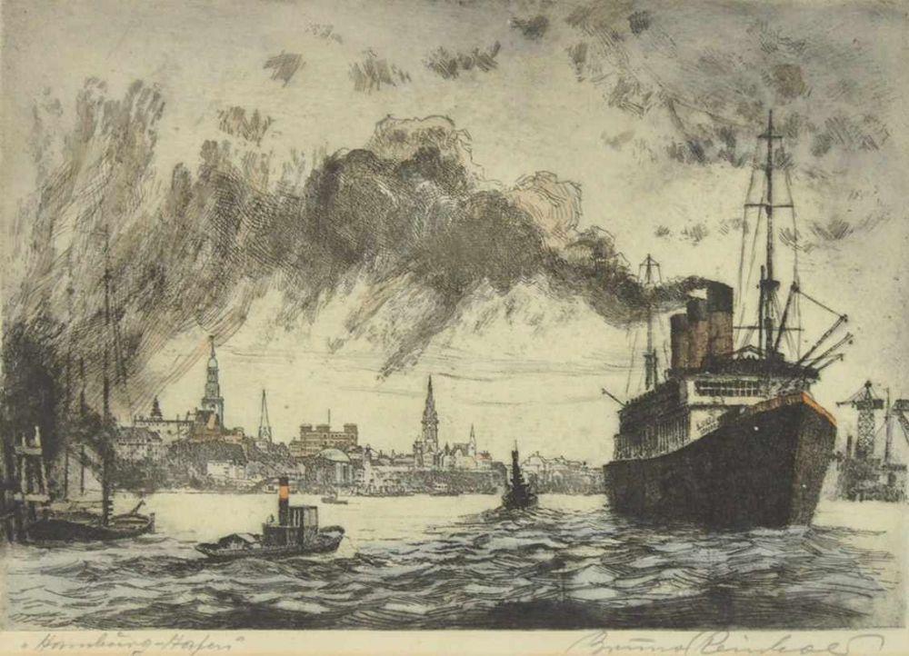 REINHOLD, Bruno1891-?Hamburger HafenRadierung, 33 x 48 cm, gerahmt unter Glas