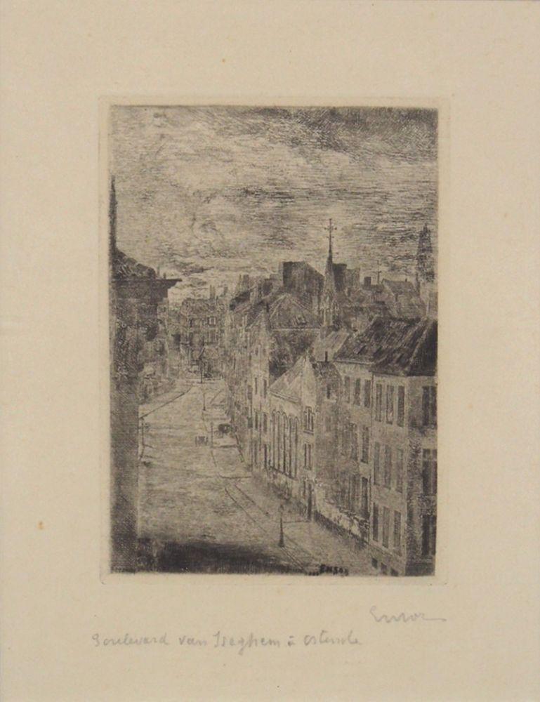 ENSOR, James1860-1949Boulevard von IseghemRadierung, signiert unten rechts, 20 x 15 cm, gerahmt unter Glas und Passepartout