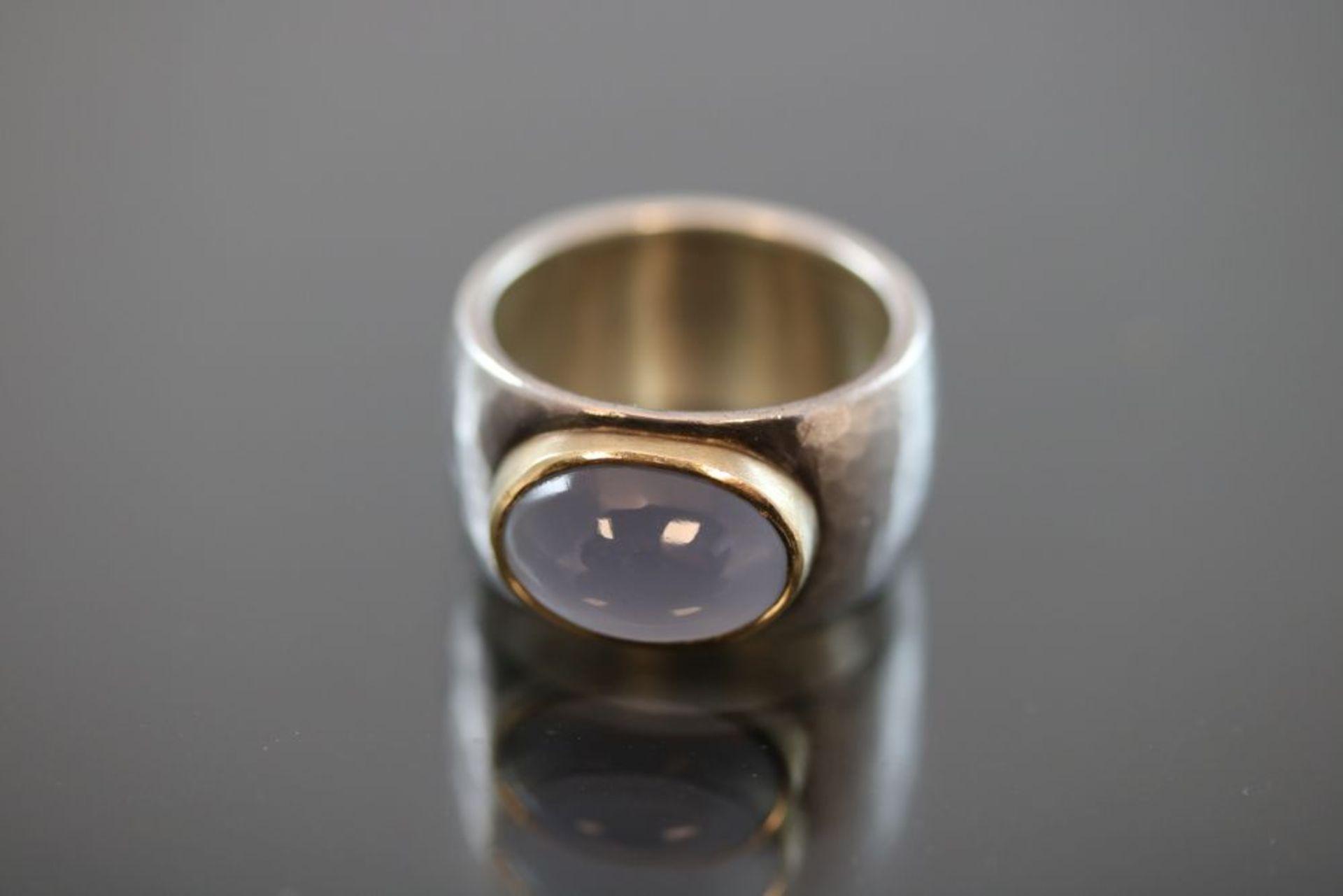Mondstein-Ring, 925 Silber / 900 Gold