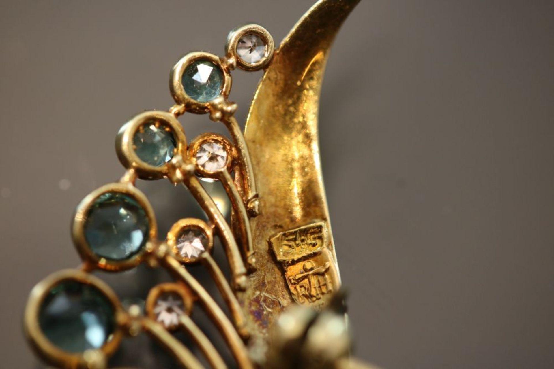Opal-Diamant-Brosche, 585 Gold - Bild 3 aus 3