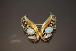 Opal-Diamant-Brosche, 585 Gold