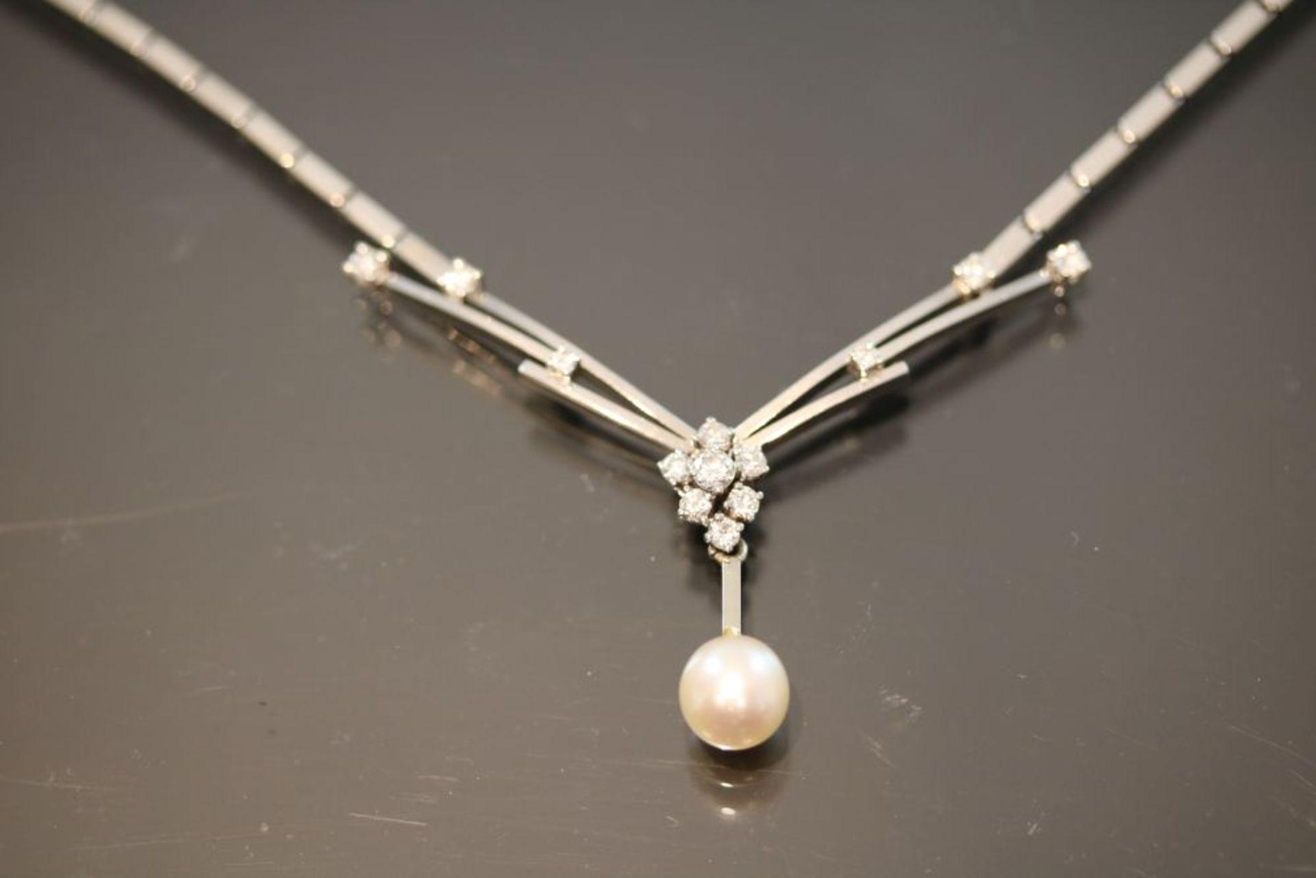 Brillant-Perl-Collier, 585 Weißgold