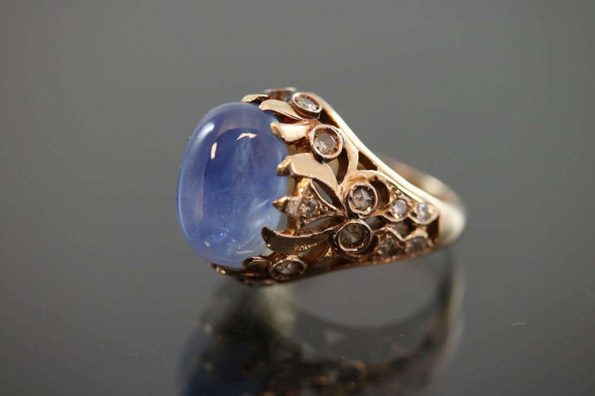 Saphir-Diamant-Ring, 585 Gold - Bild 2 aus 3