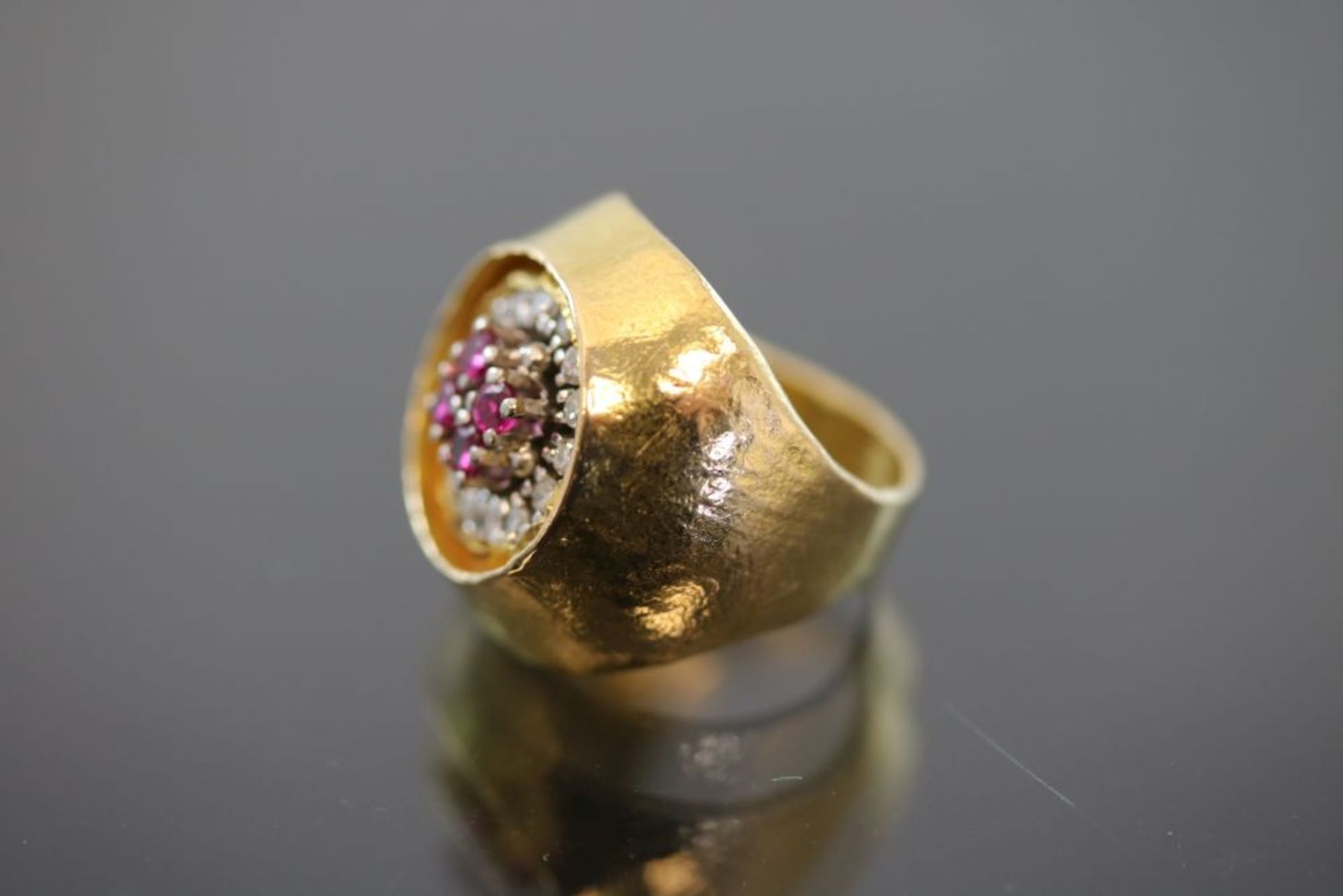 Zobel-Rubin-Diamant-Ring, 750 Gold - Bild 2 aus 3