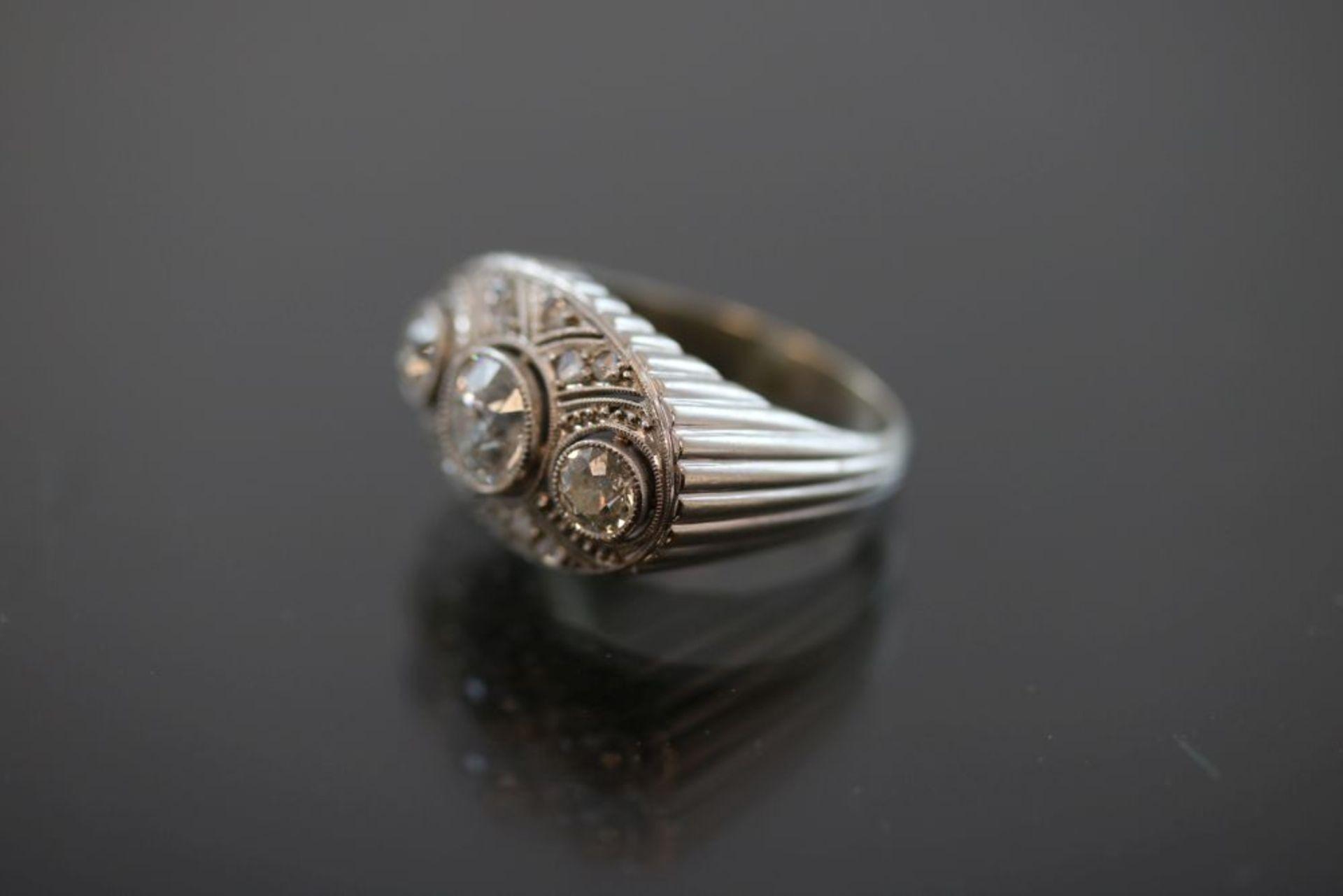 Art-Deco-Ring, 750 Weißgold - Bild 2 aus 3