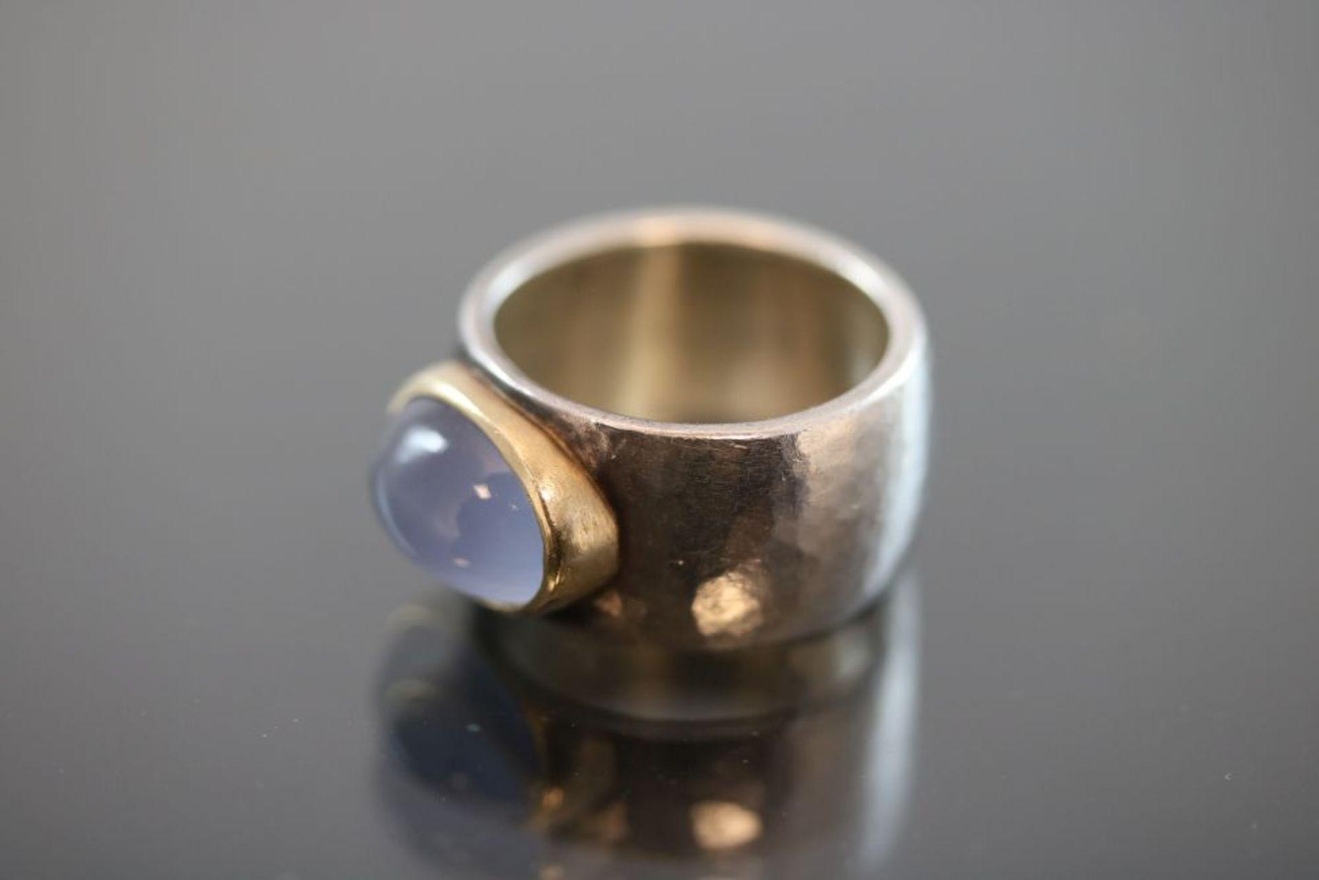 Mondstein-Ring, 925 Silber / 900 Gold - Bild 2 aus 3
