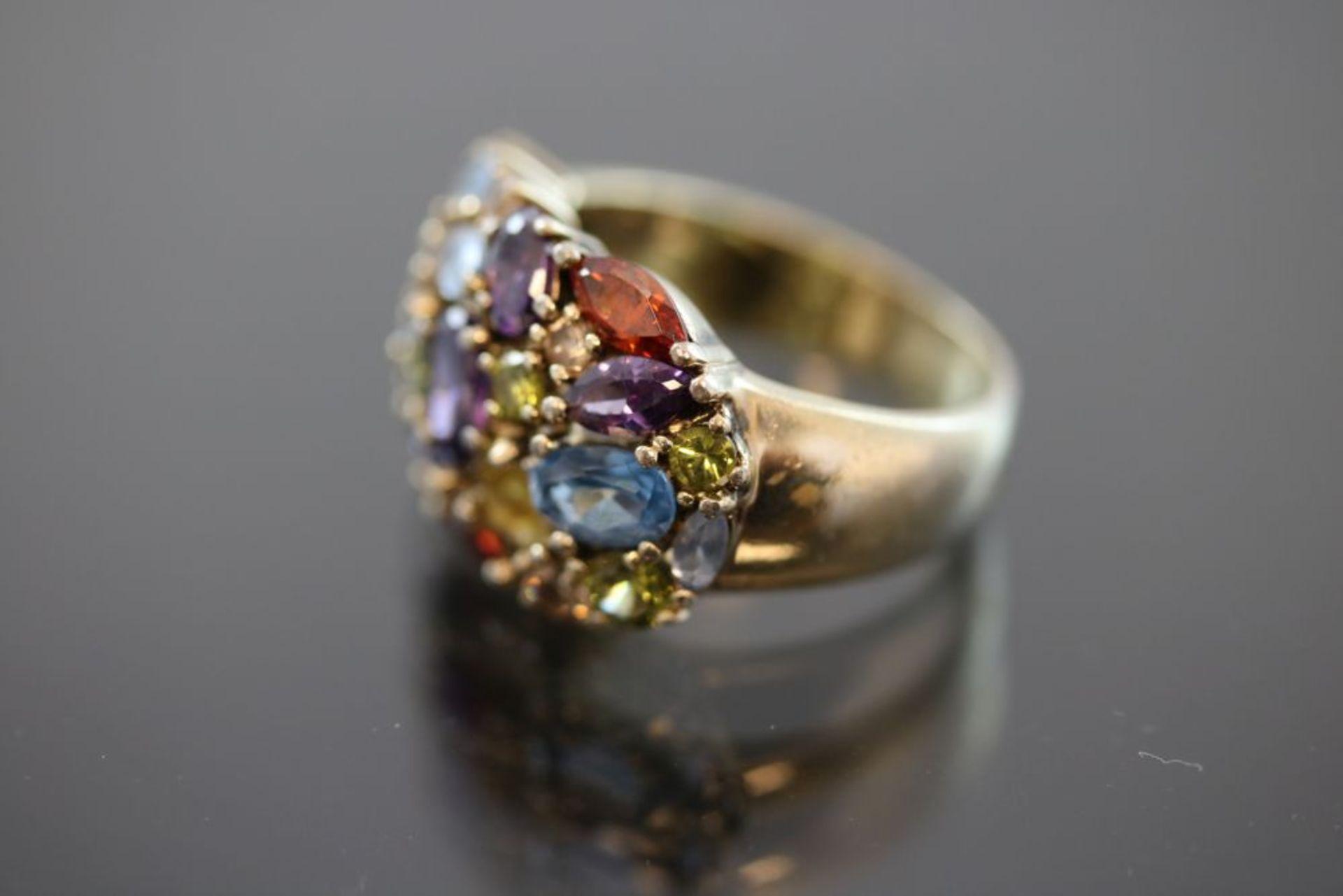 Farbstein-Ring, 925 Silber vergoldet - Bild 2 aus 3