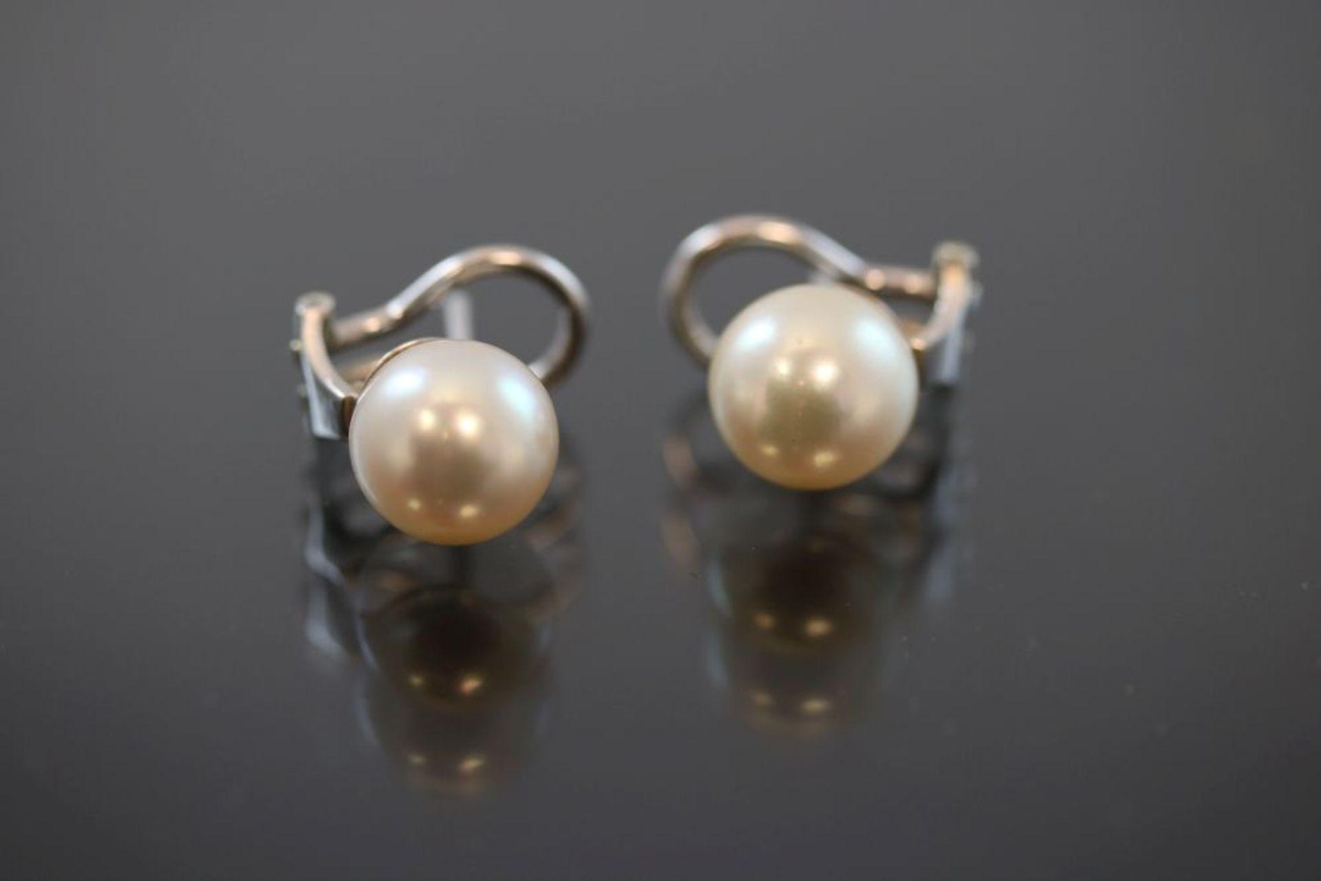 Perl-Ohrringe-Clip, 750 Weißgold