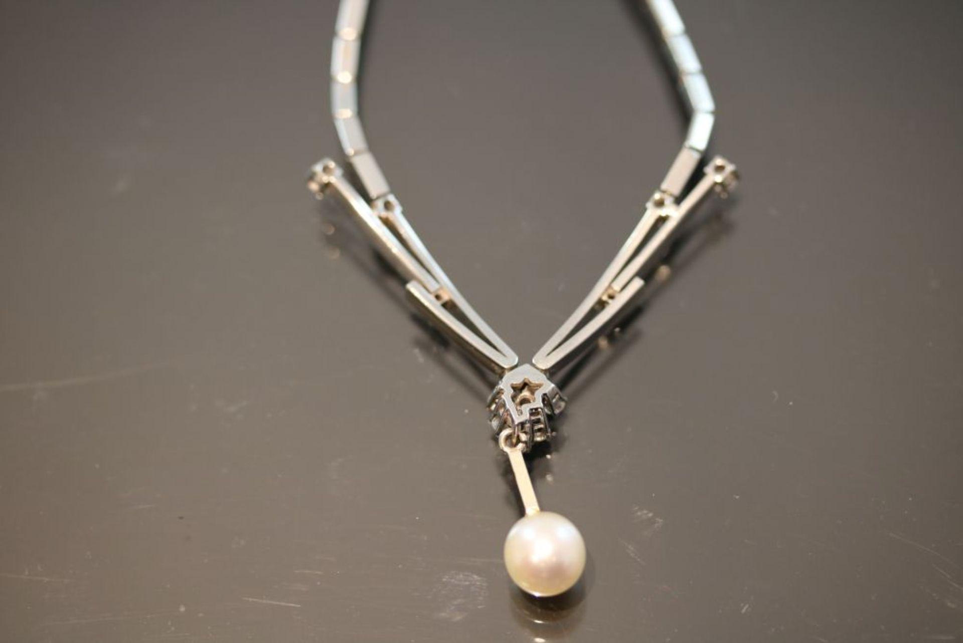 Brillant-Perl-Collier, 585 Weißgold - Bild 2 aus 3