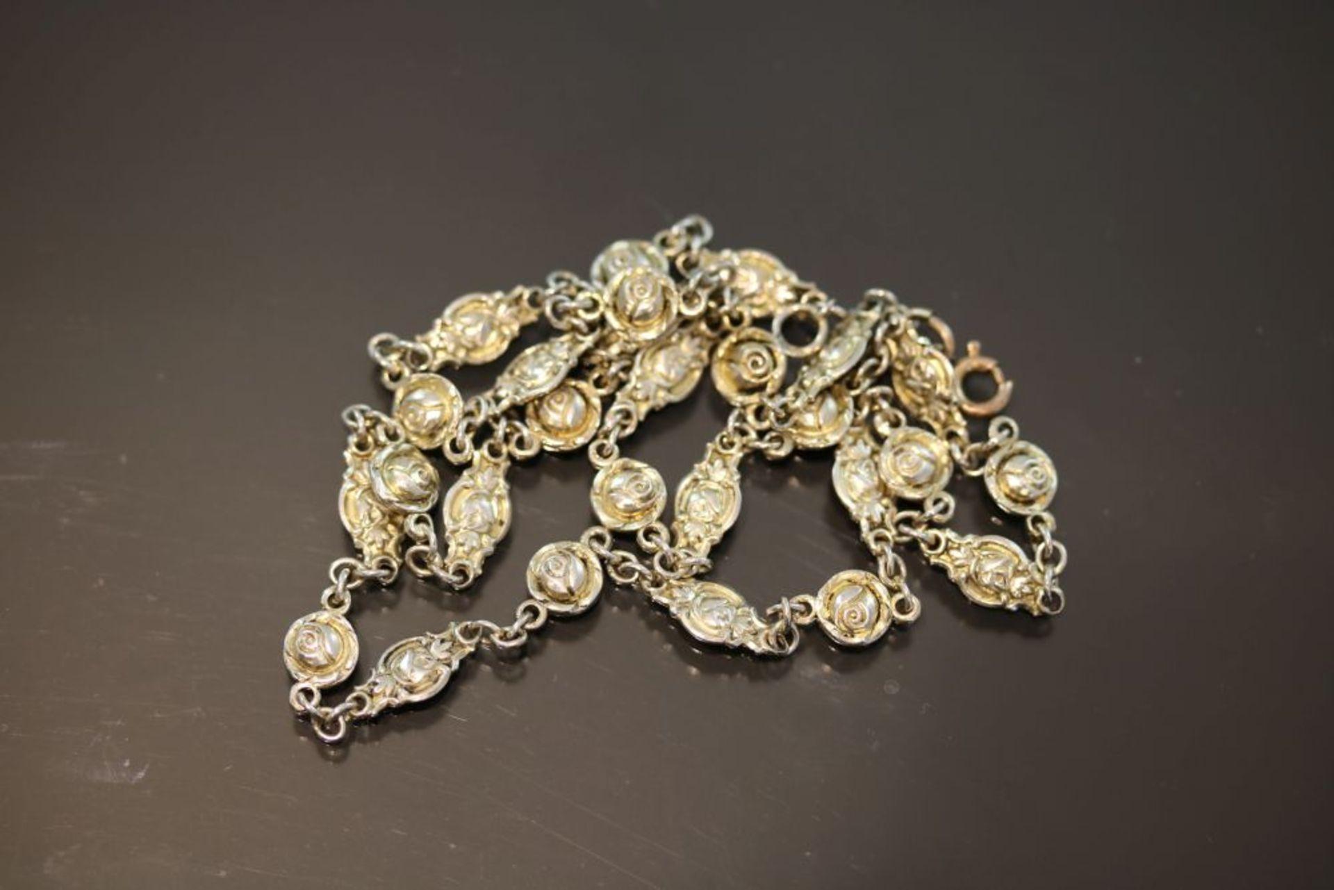 Silberkette Rosenmotiv, Silber vergoldet