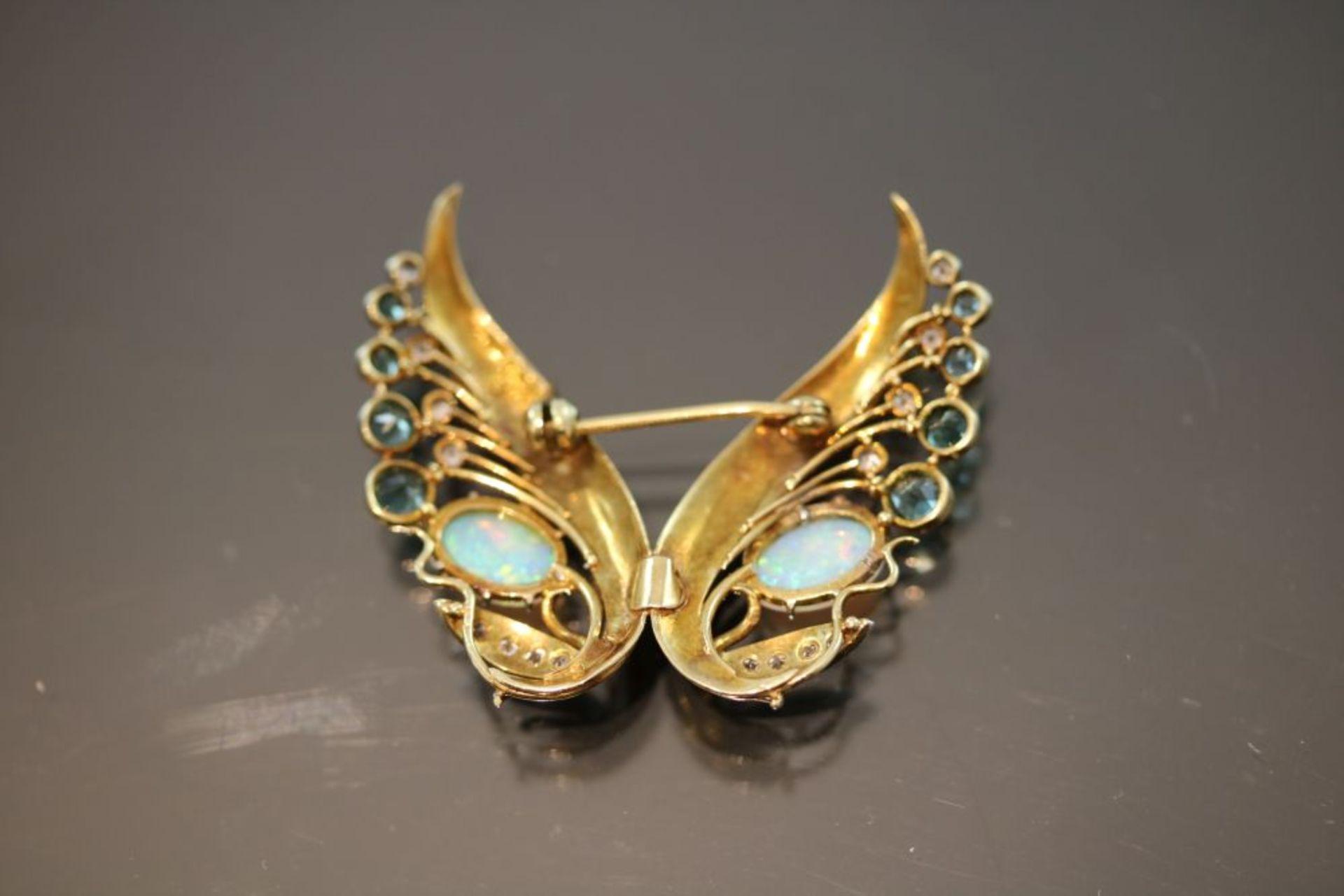 Opal-Diamant-Brosche, 585 Gold - Bild 2 aus 3