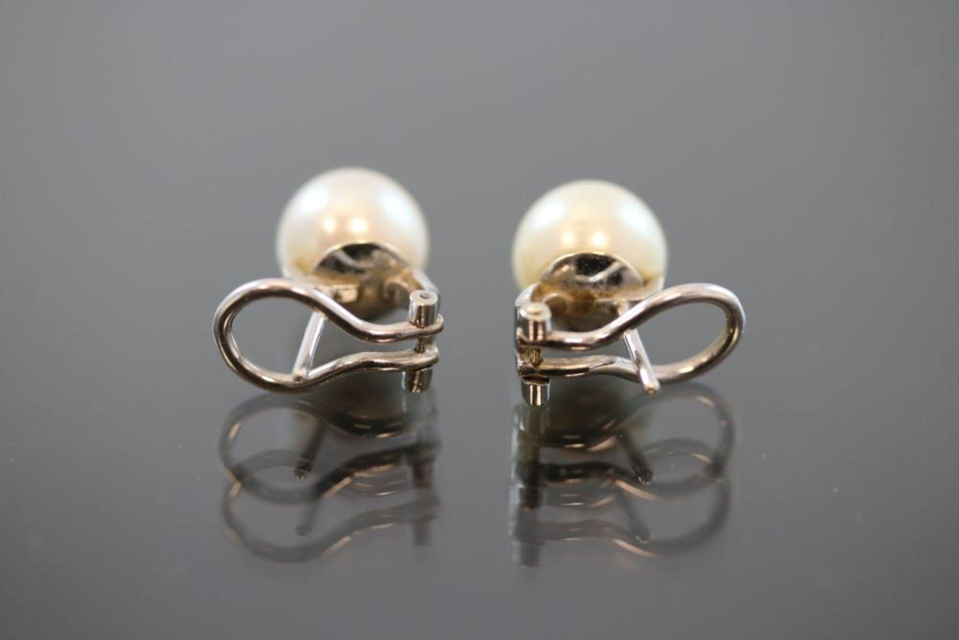 Perl-Ohrringe-Clip, 750 Weißgold - Bild 3 aus 3