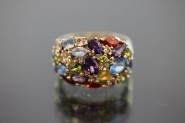 Farbstein-Ring, 925 Silber vergoldet