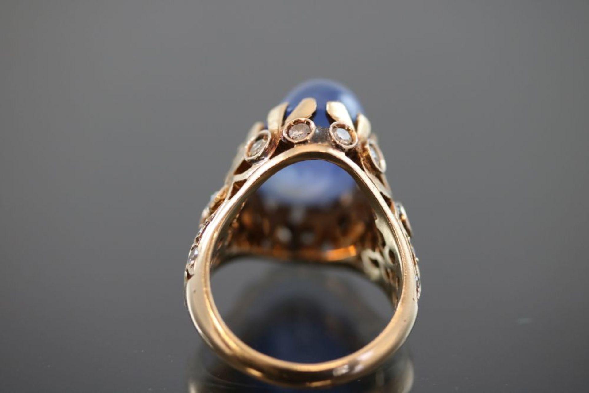Saphir-Diamant-Ring, 585 Gold - Bild 3 aus 3