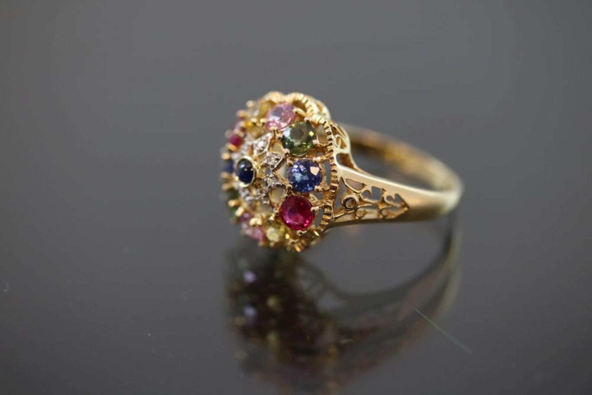 Edelstein-Ring, 750 Gold - Bild 2 aus 3