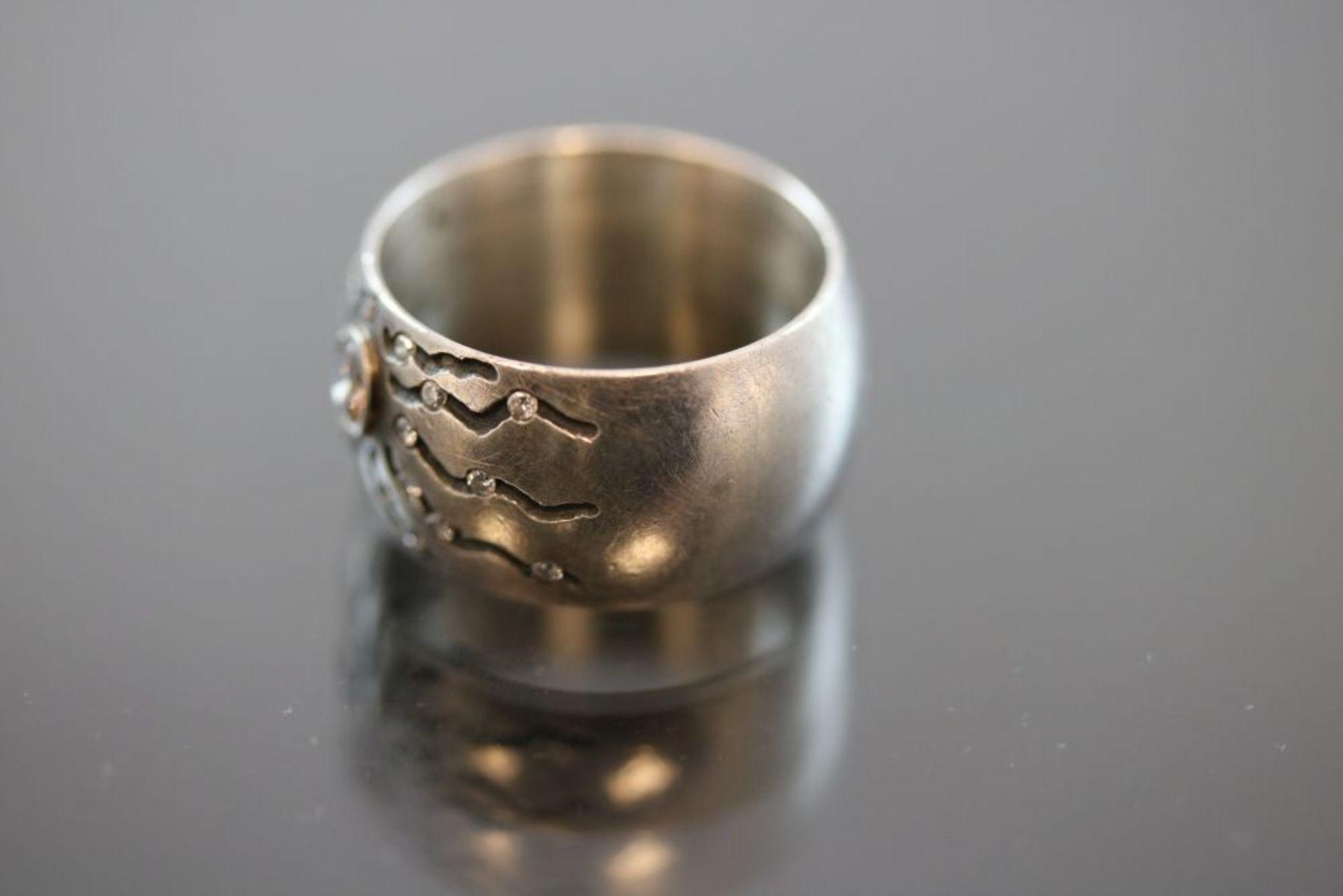 Brillant-Design-Ring, Silber/Gold - Bild 2 aus 3