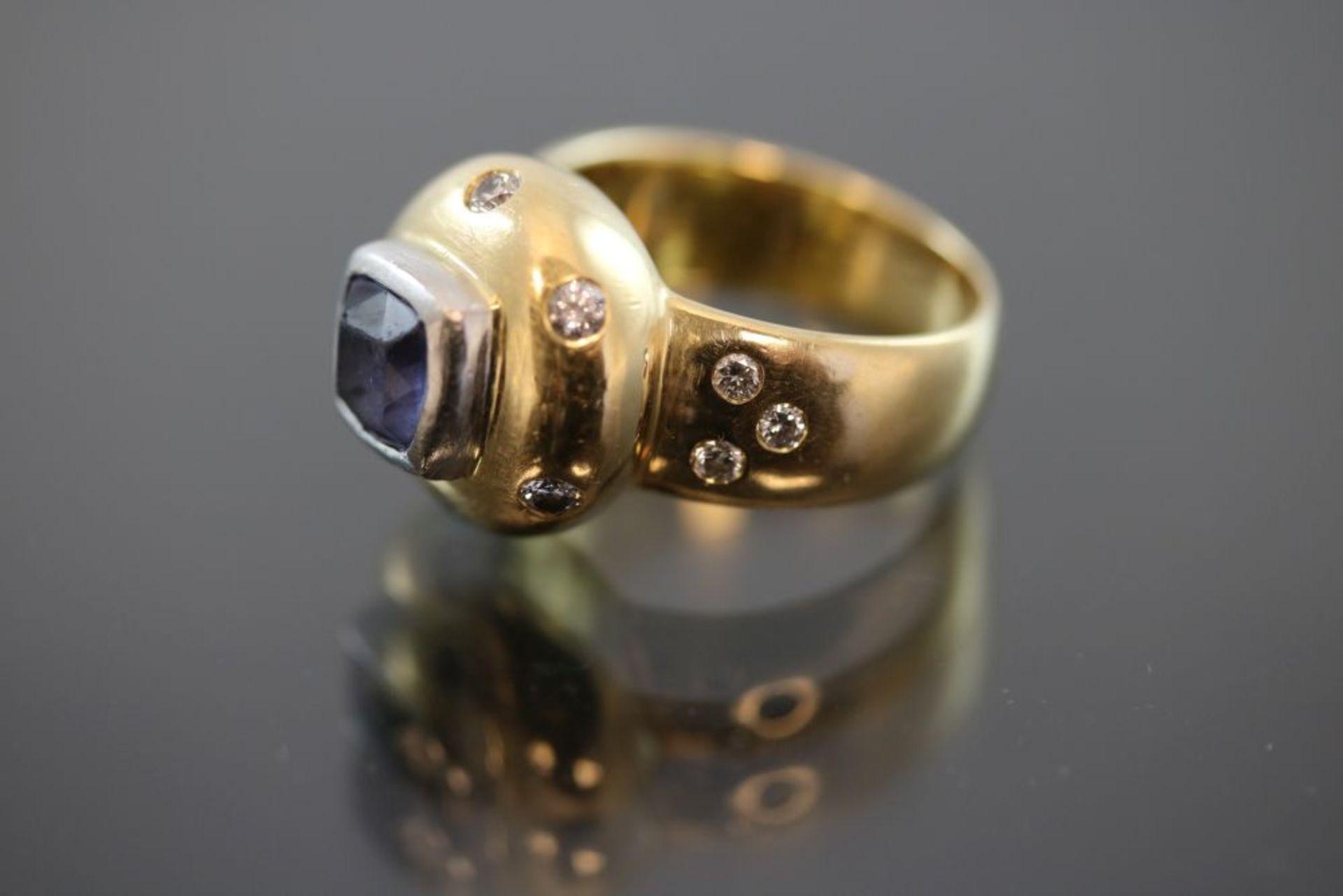 Tanzanit-Brillant-Ring, 750 Gold - Bild 2 aus 3