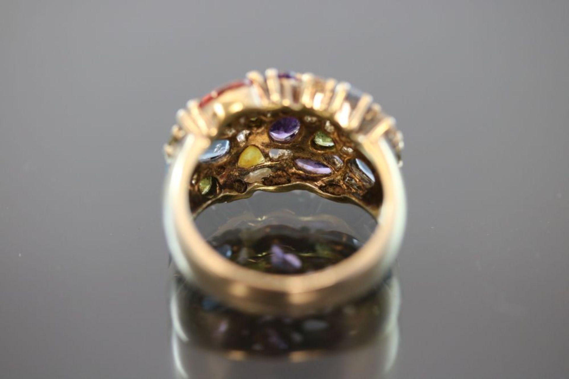 Farbstein-Ring, 925 Silber vergoldet - Bild 3 aus 3