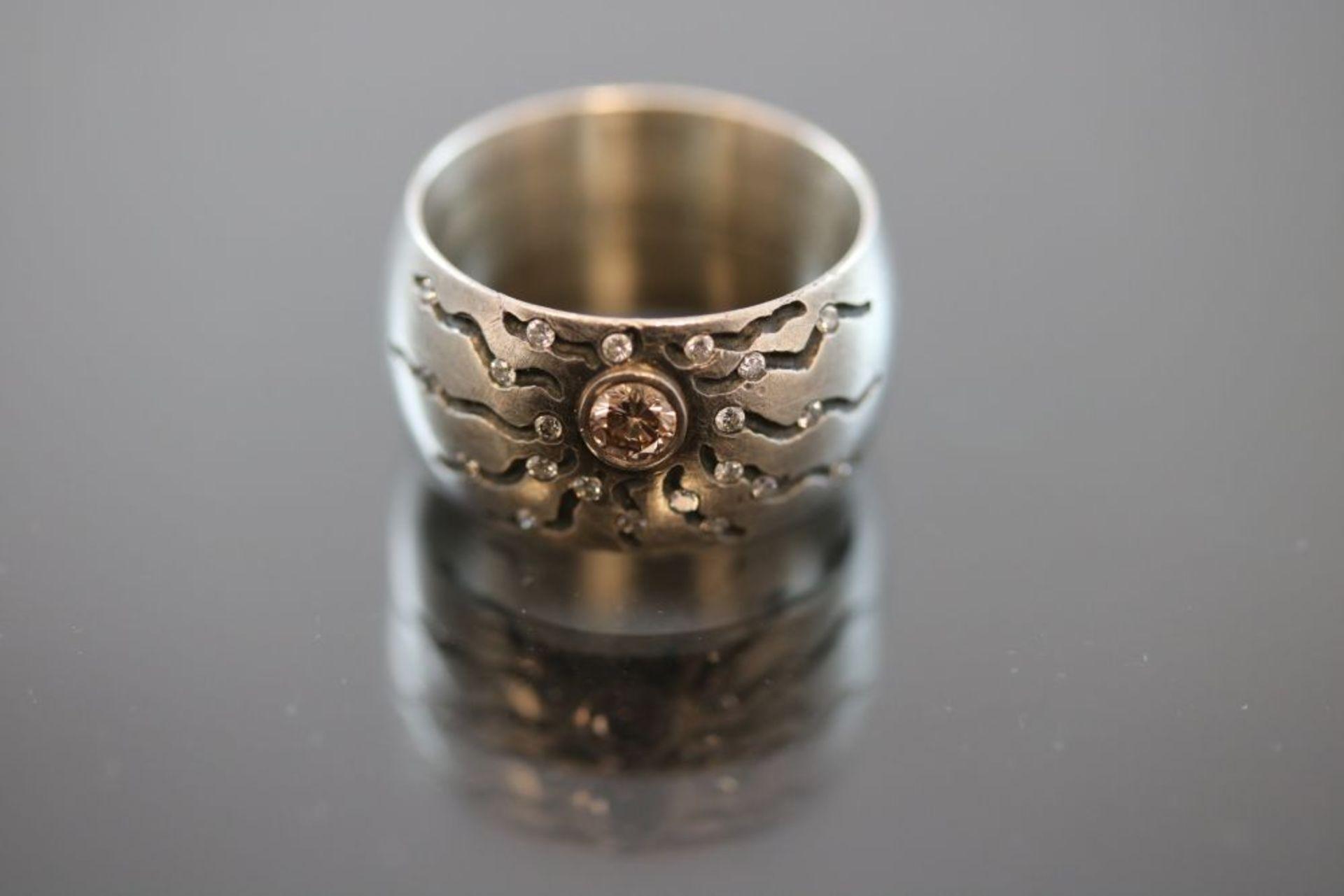 Brillant-Design-Ring, Silber/Gold