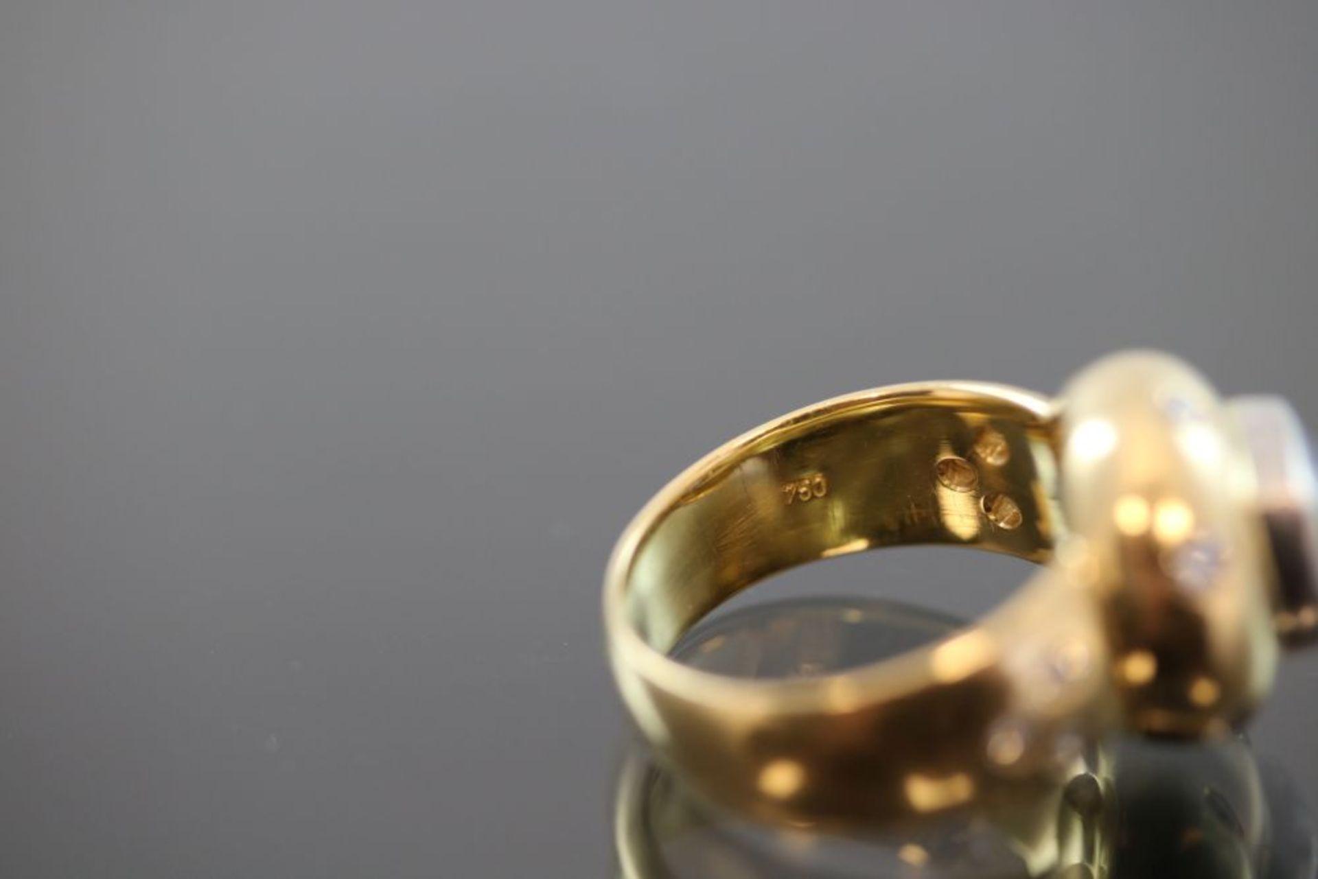 Tanzanit-Brillant-Ring, 750 Gold - Bild 3 aus 3