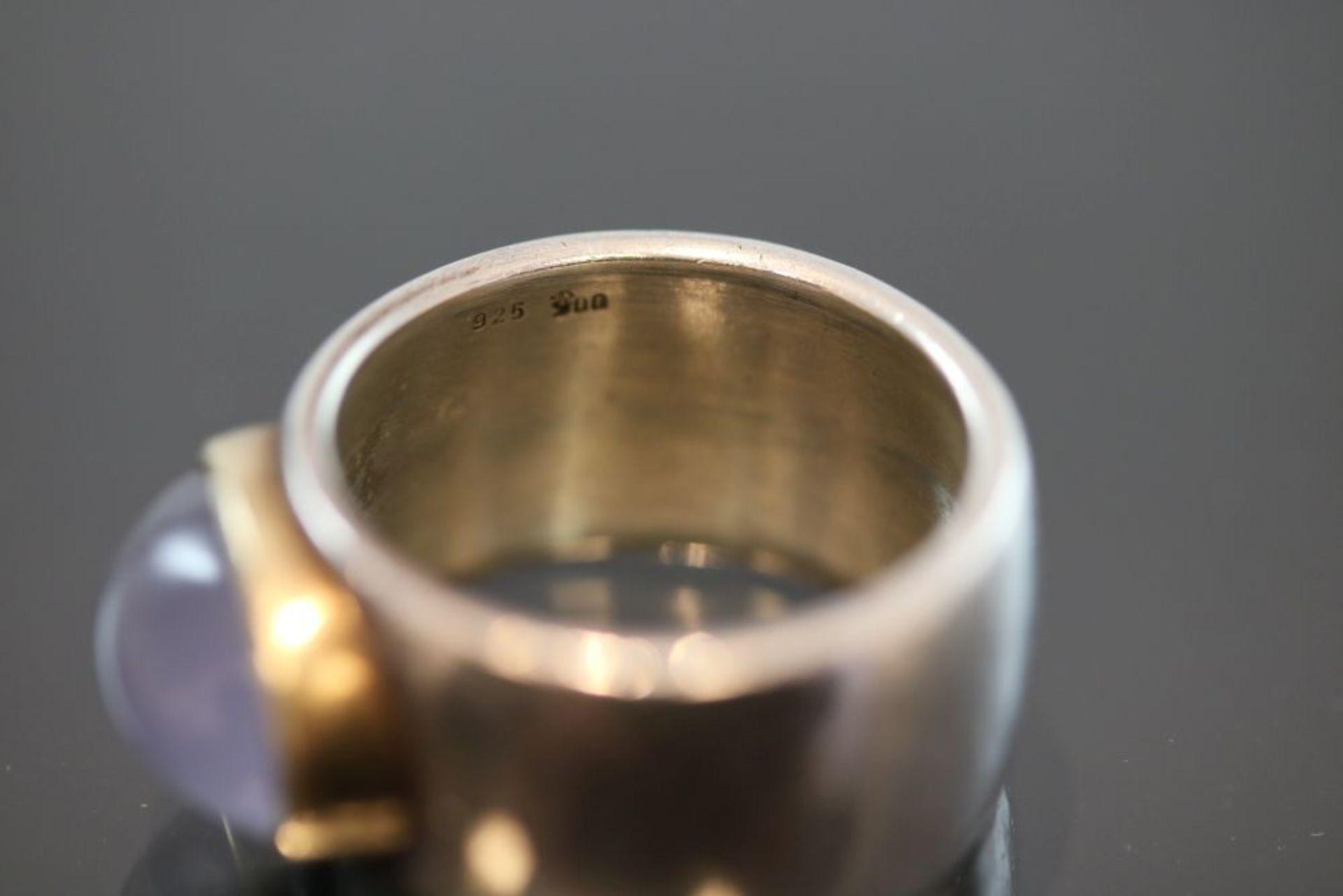 Mondstein-Ring, 925 Silber / 900 Gold - Bild 3 aus 3