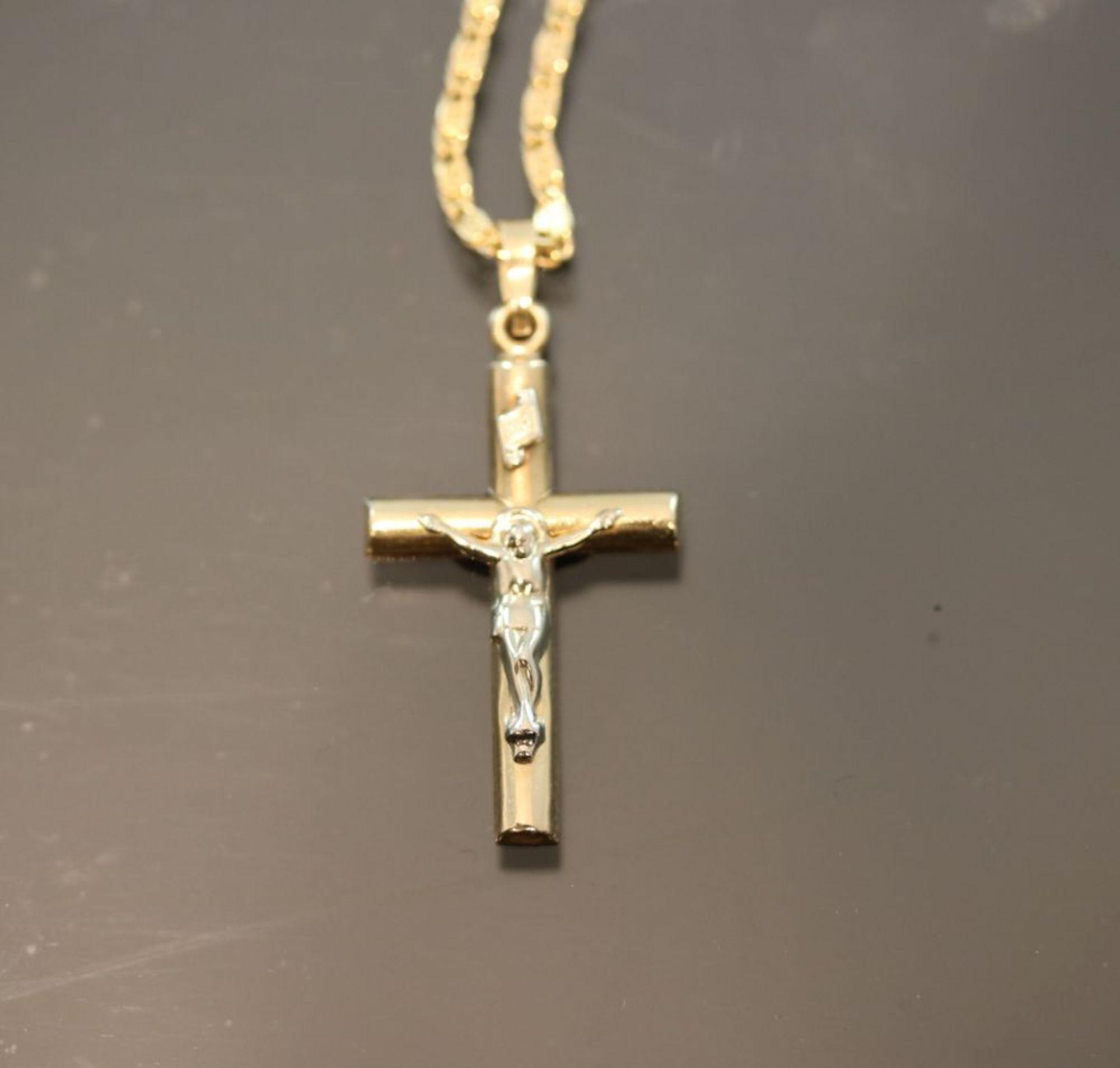Kreuzanhänger mit Kette, 585 Gold