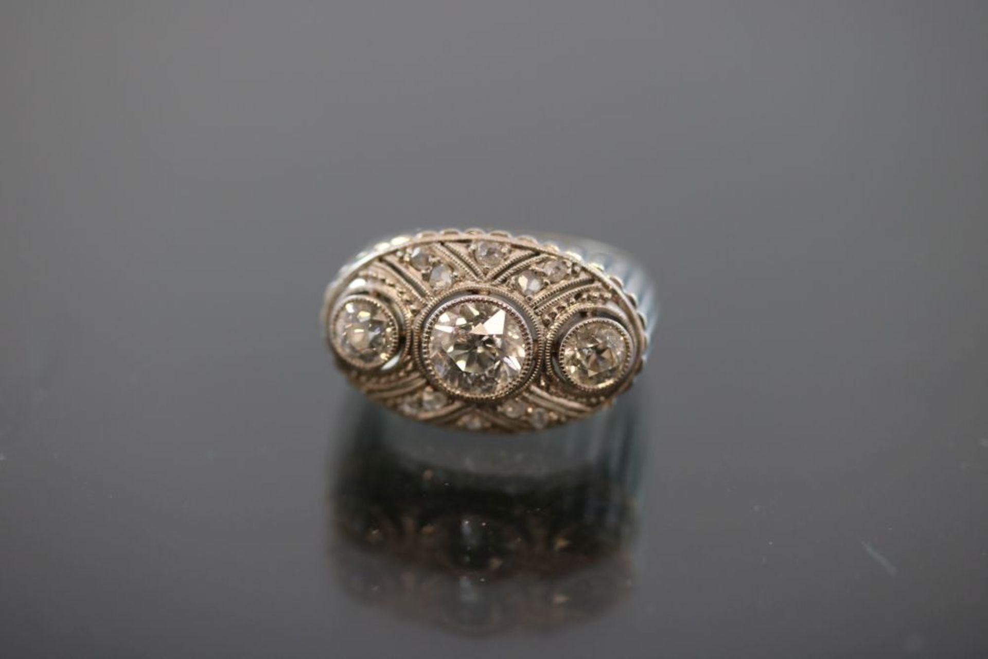 Art-Deco-Ring, 750 Weißgold