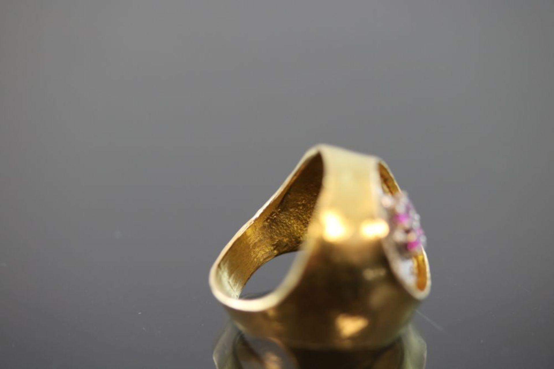 Zobel-Rubin-Diamant-Ring, 750 Gold - Bild 3 aus 3