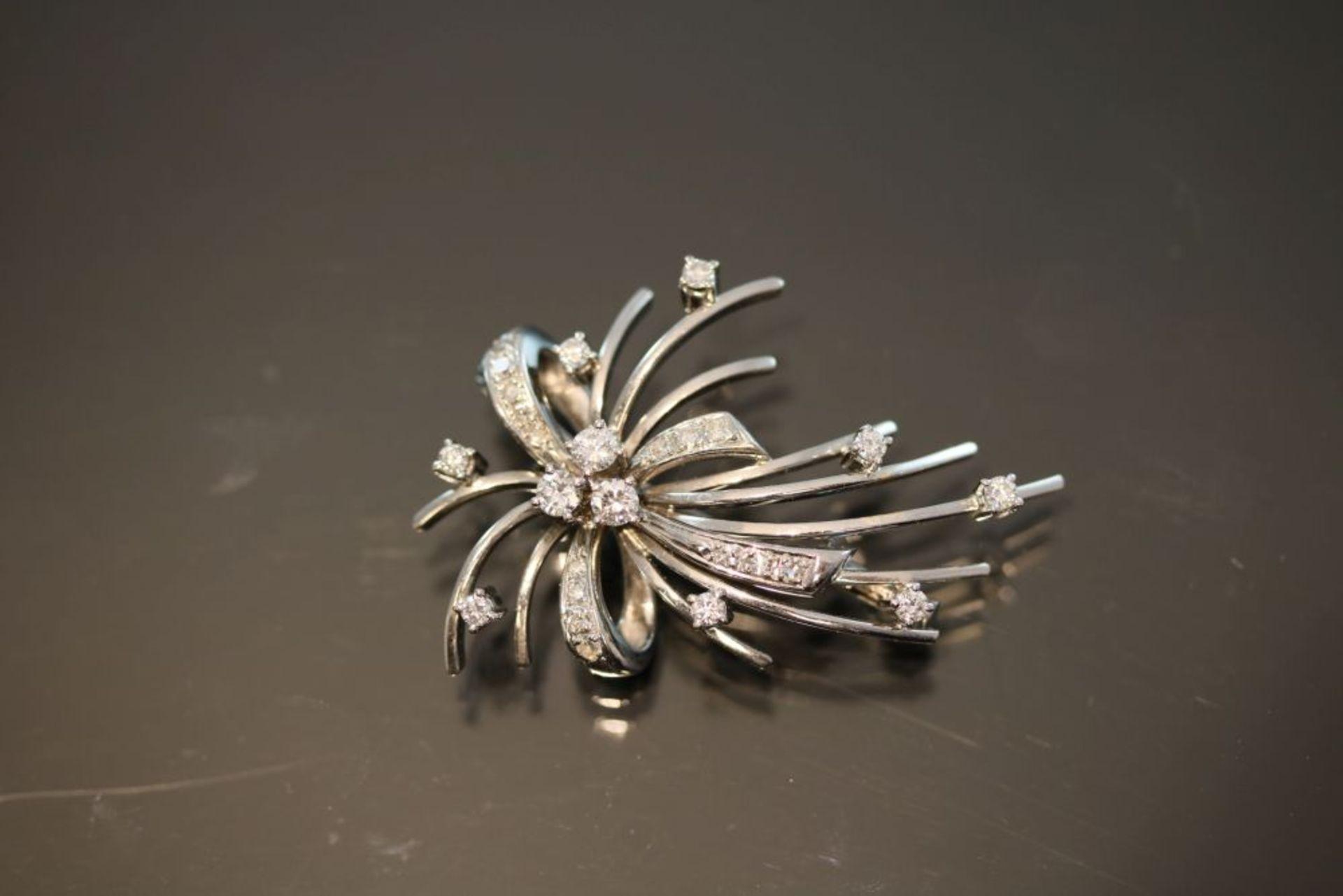 Diamant-Brillant-Brosche, 585 Weißgold