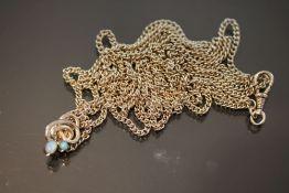 Uhrenkette mit Opalanhänger, 585 Weißgold