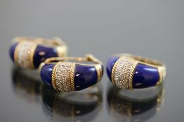 Lapislazuli-Diamant-Set, 585 Gold