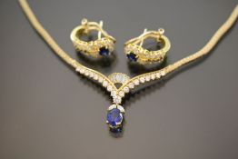 Saphir-Brillant-Diamant-Set, 750 Gelbgold