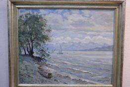 Umgelter Hermann 1891-1962 Bodensee mit Blick auf die Alpen «Verso bezeichnet Bodensee 1953 DM