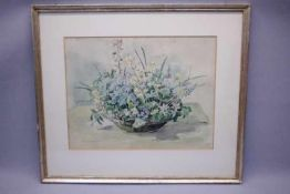 Umgelter Hermann 1891-1962 Frühlings Blumen in Schale «AquarellBlatt Größe: 35x27cmIm Passep.li.u.