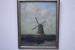 Schlegel,H.19./20.Jhdt. Windmühle «ÖL/Lwd.40x60cn gerahmt