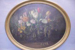 Ovales Blumenbildwohl um 1900Öl/Platter.u.Sign.H.Krum76x62cmGerahmt