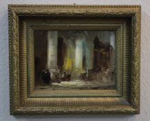 Wildeboer, Roel (1902-1989) ATTR. Kirchen Interieur mit Personen «Öl/Platteca.24x18cmGerahmt