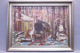 Schopf Gustav 1899-1987 Stuttgart Eisenbahn im Walde 1951 «Öl auf Platte Unsig.Verso Nachlaß