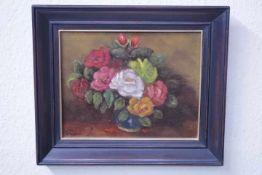 Wildeboer, Roel (1902-1989) ATTR. Blumen in Vase «unleserl.signÖl/Platte25x31cm gerahmt