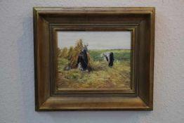 Wildeboer, Roel (1902-1989) ATTR. Heuernte «Öl/Platte26x20cmGerahmt