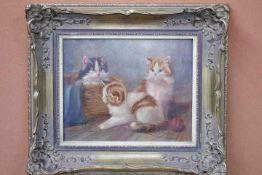 Wavener,J ? Spielende Katzen «Öl auf HolzRe.u.Sig.30 x 24cmgerahmt