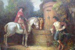 Krauss ,Max 1902 Karlsbad Reiter am Brunnen «Öl auf Lwd.li.u.sign.68 x 58,5cmgerahmt