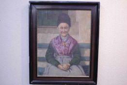 Haindl,S.Portrait Bäuerin in Tracht «Öl/Lwd.li.u.dat 1924Rahmen instabil