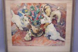 Lichtenberg Werner Otto 1903-1987Aquarell Spielende Hunde-Malteser «Li.u.sig.dat.1936Blattgröße: