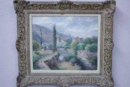 Charton Edouard 1855-? Flußlandschaft in der Provence «Li.u.Sig.Verso Altes Etikett:Edouard