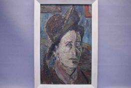 Schopf Gustav 1899-1987 Stuttgart Portrait Dame mit Hut «Öl auf PlatteVerso Nachlass Etikett: Dame