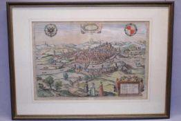 Schwäbisch HallCol.Kupferstich um 1570Braun / HogenbergVerso altes Etikett Kunsthaus