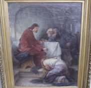 Keller,Friedrich von 1840-191 Im Tempel «Öl/Lwd. Originalrahmen aus der Zeit90x110cmSign.u.Dat.1901
